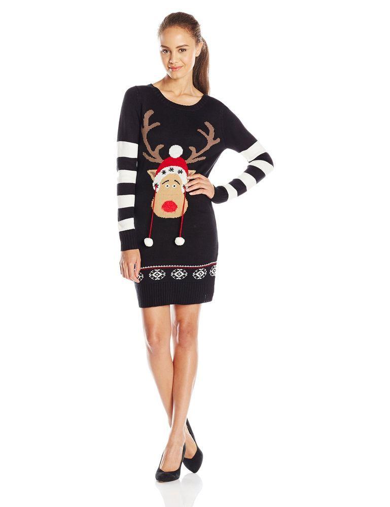 Ugly Christmas Sweater Dress Women Black Tunic X-Large XL Junior ...