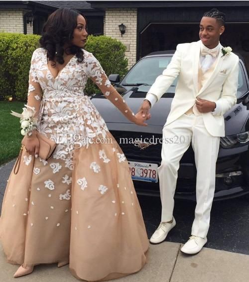 ad290d3a12 Chic Black Girl Prom 2K16 Champagne Evening Dresses with White Lace Deep  V-Neck Illusion Long Sleeves Formal Celebrity Gowns Party Dress Vintage  Wedding ...