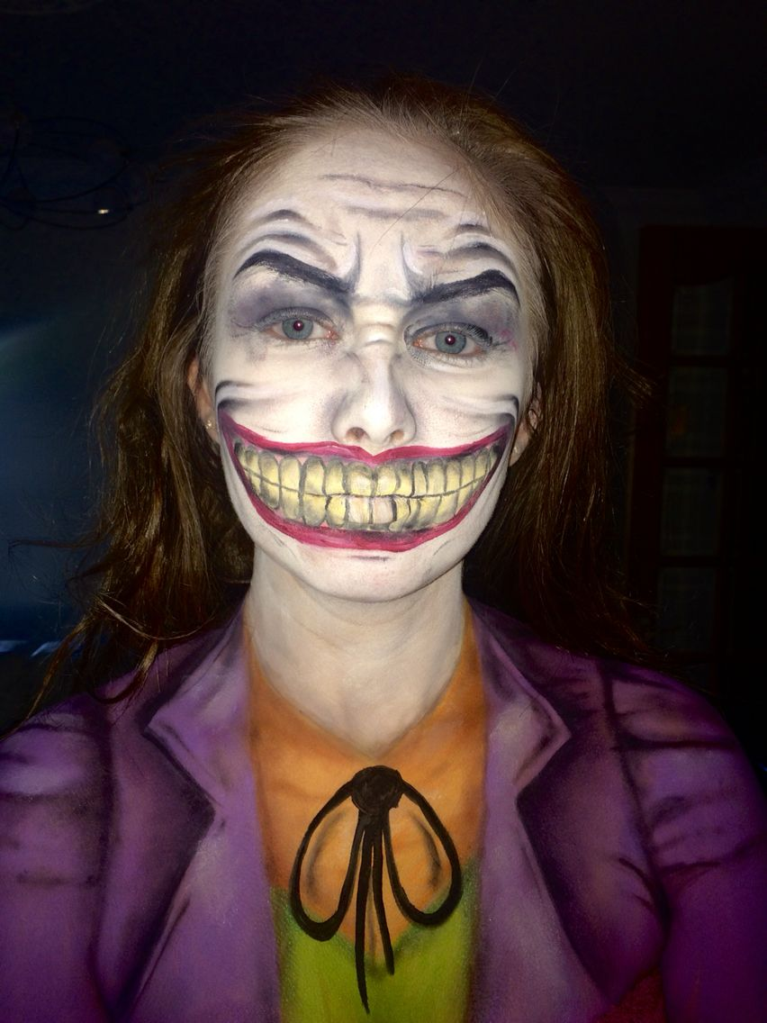 Joker halloween body & face painting, v messy lol