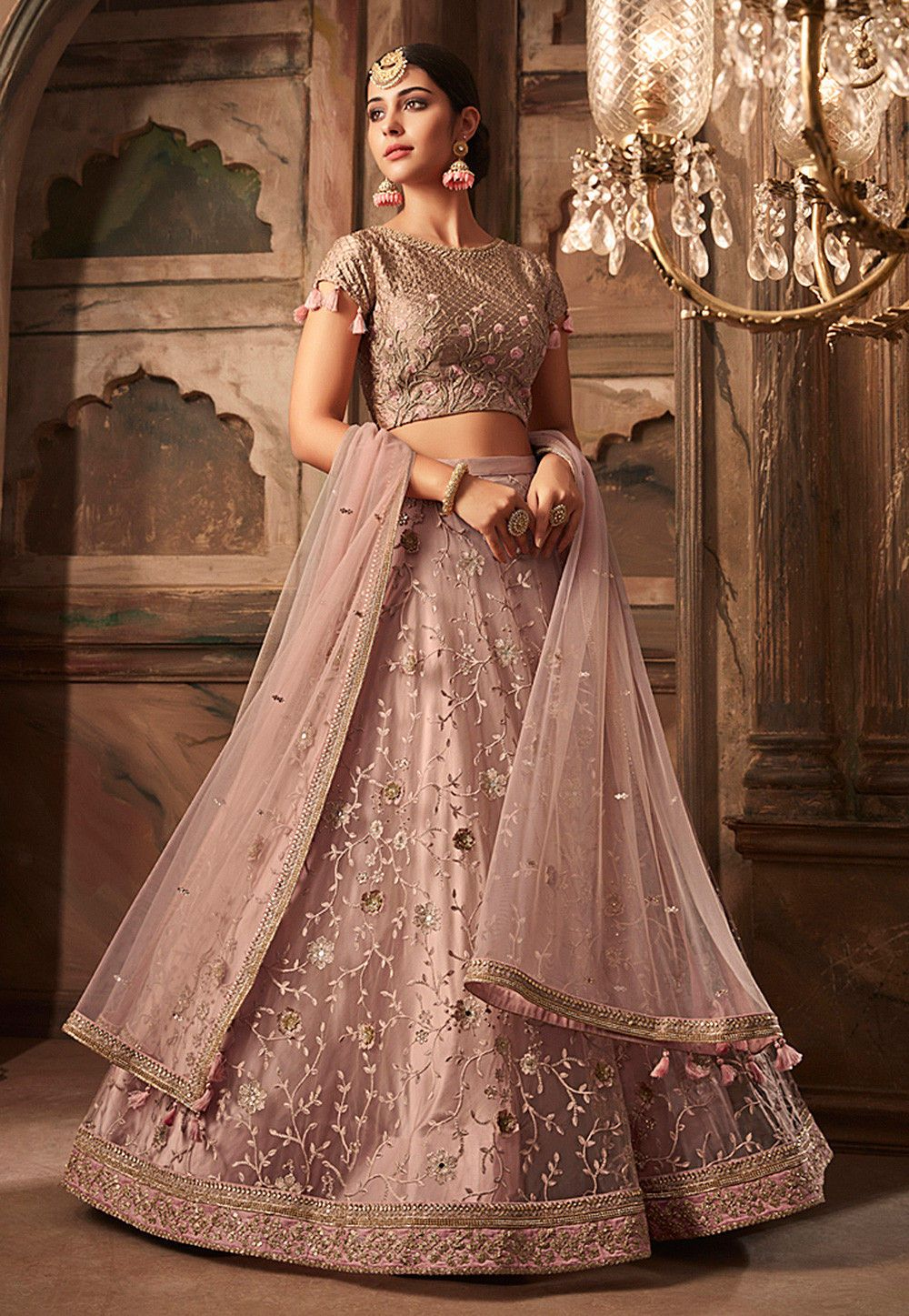 4f901785f4 Buy Embroidered Net Lehenga in Dusty Pink online, Item code: LQM264, Color:  Pink, Occasion: Wedding, Work: Contemporary, Resham, Stone Work, Zari, ...