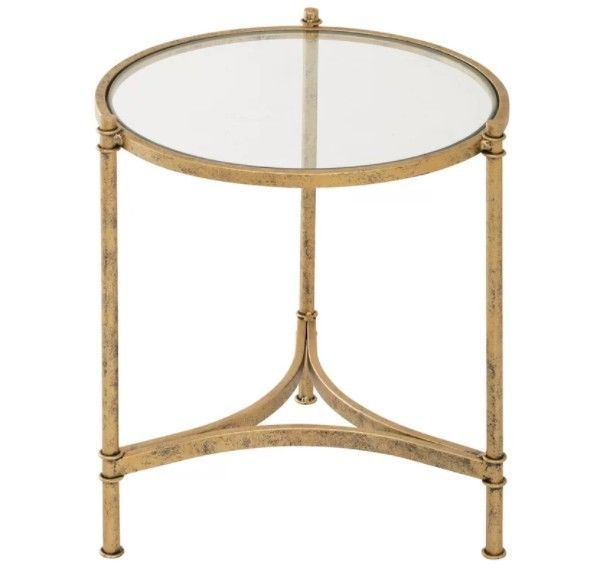 Small Metal Side Table Vintage Round Glass Coffee Tables Gold Living Furniture