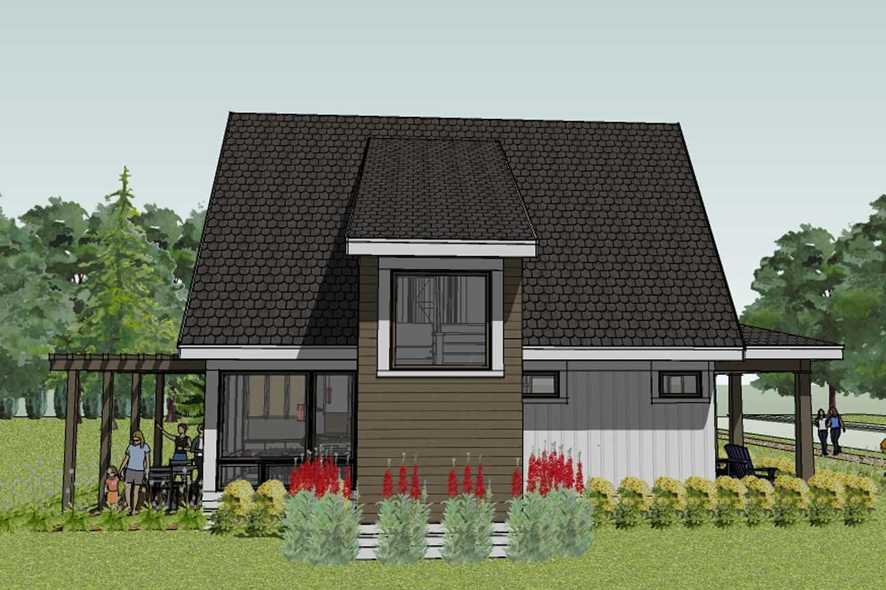 Scandia Modern Cottage House Plan rear view floor plans