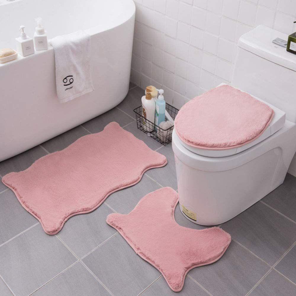 Wrewing Non Slip Bath Toilet Mat Set Faux Rabbit Fur Bathroom Rug Toilet Rug Pink Bathroom Rugs Toilet Covers [ 1000 x 1000 Pixel ]