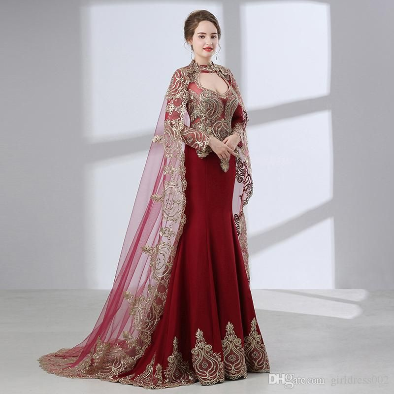 Burgundy Arabic Mermaid Evening Dresses 2018 Robe De Soiree Long Sleeve Formal  Gown Women Party Prom Dress Real Photo c9d173e1bc76