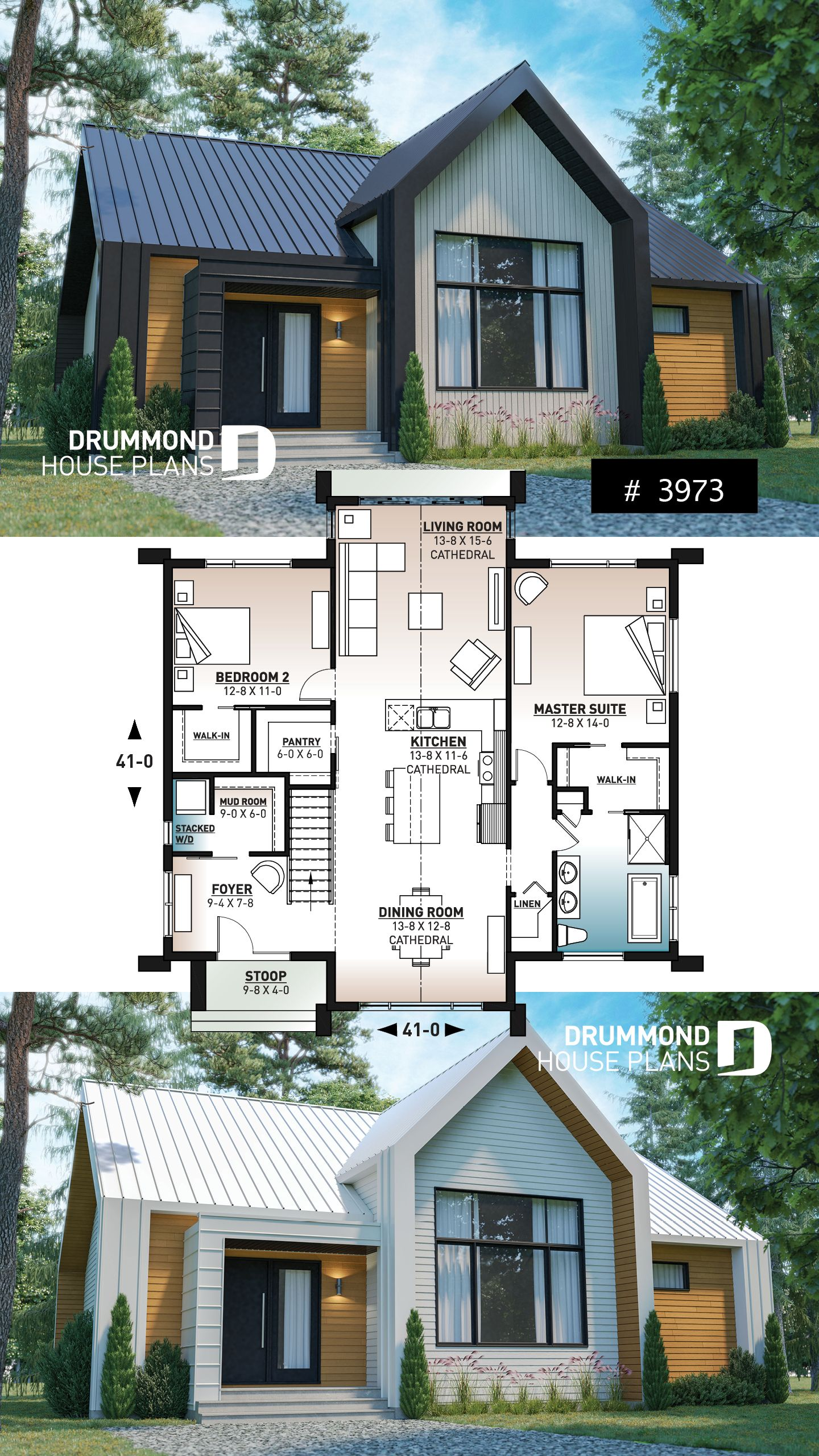 Discover The Plan 3973 Tahoe Which Will Please You For Its 2 Bedrooms And For Its Scandinavian Styles Cottage House Plans Sims House Plans Cottage Plan
