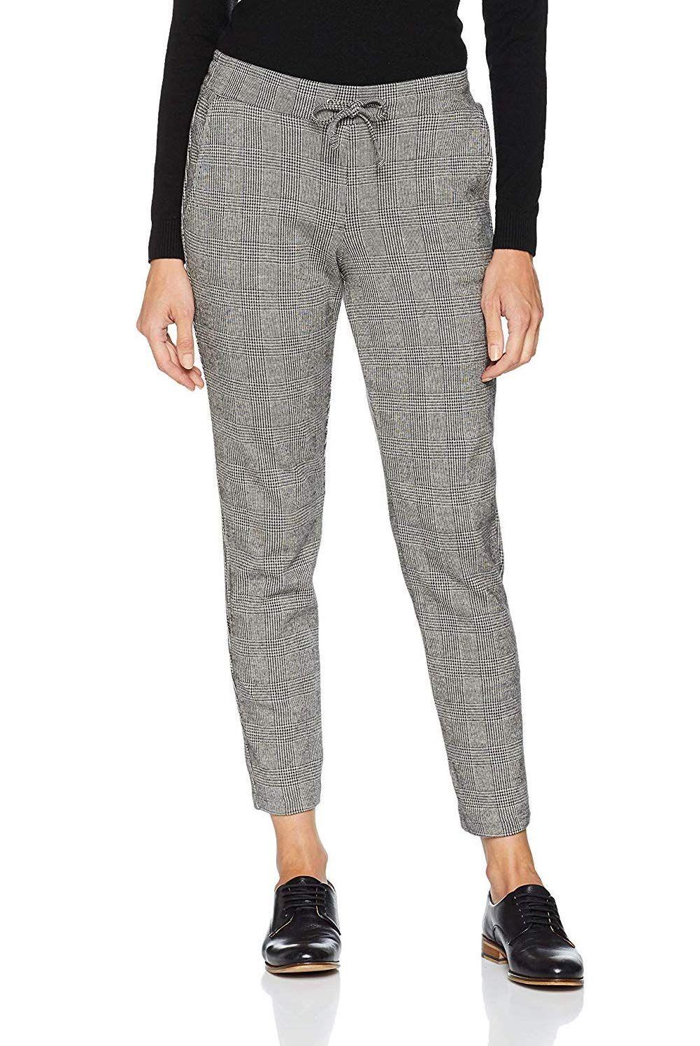 Tom Tailor Damen Hose Glencheck Loose Fit Jeans Mit Lochern Modetrend Hosen