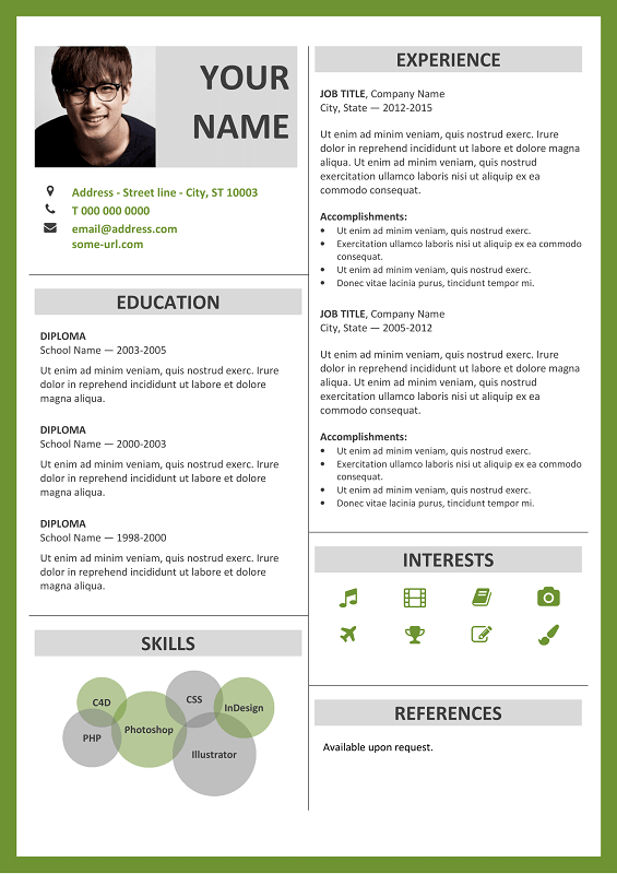 fitzroy free resume template microsoft word green layout - Resume Template For Microsoft Word