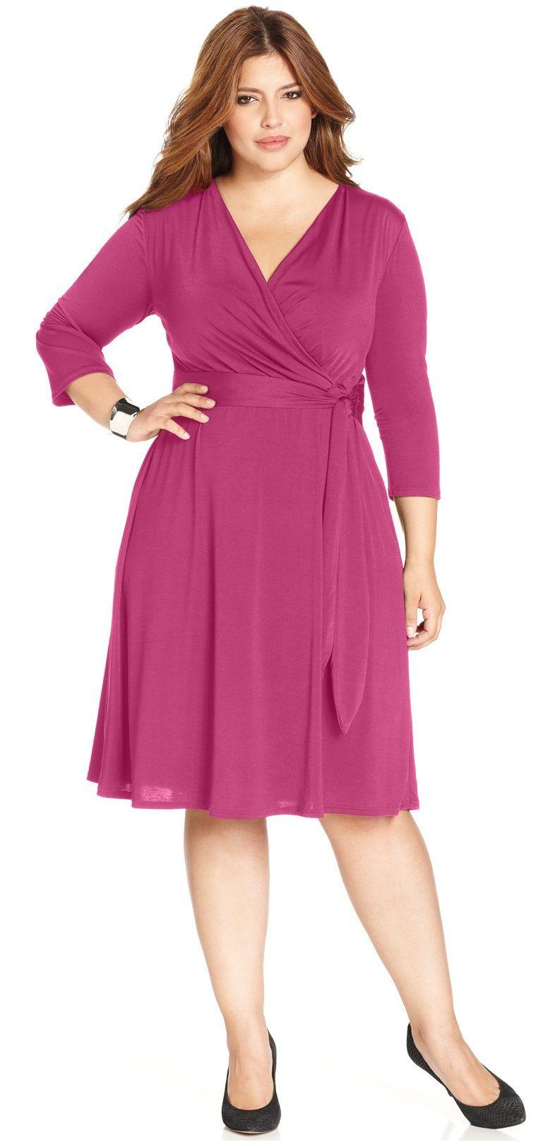 Love a good wrap dress! Plus Size Faux-Wrap Dress | Plus Size ...