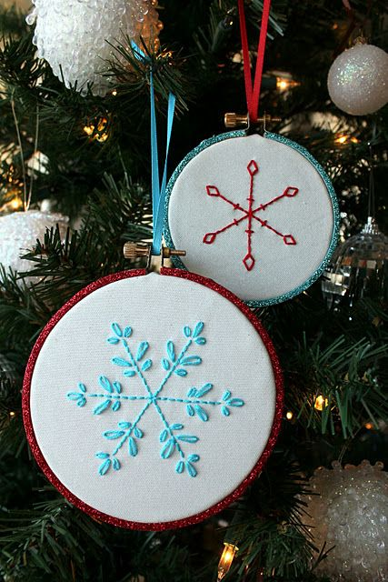 Snowflake embroidery hoop ornaments with pattern:)