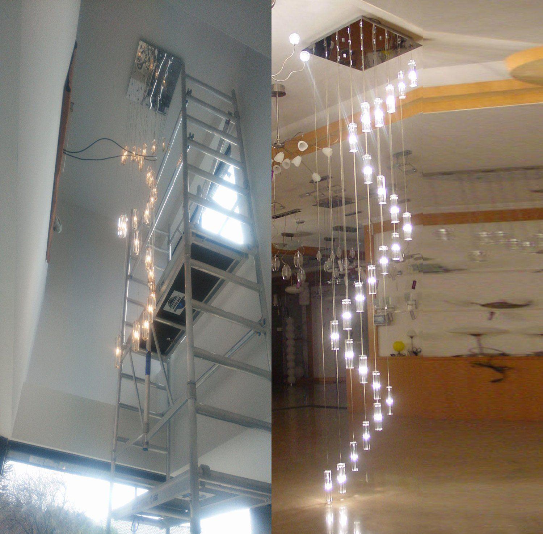 Poersi Spiral Chandelier Staircase Lighting Spiral Crystal