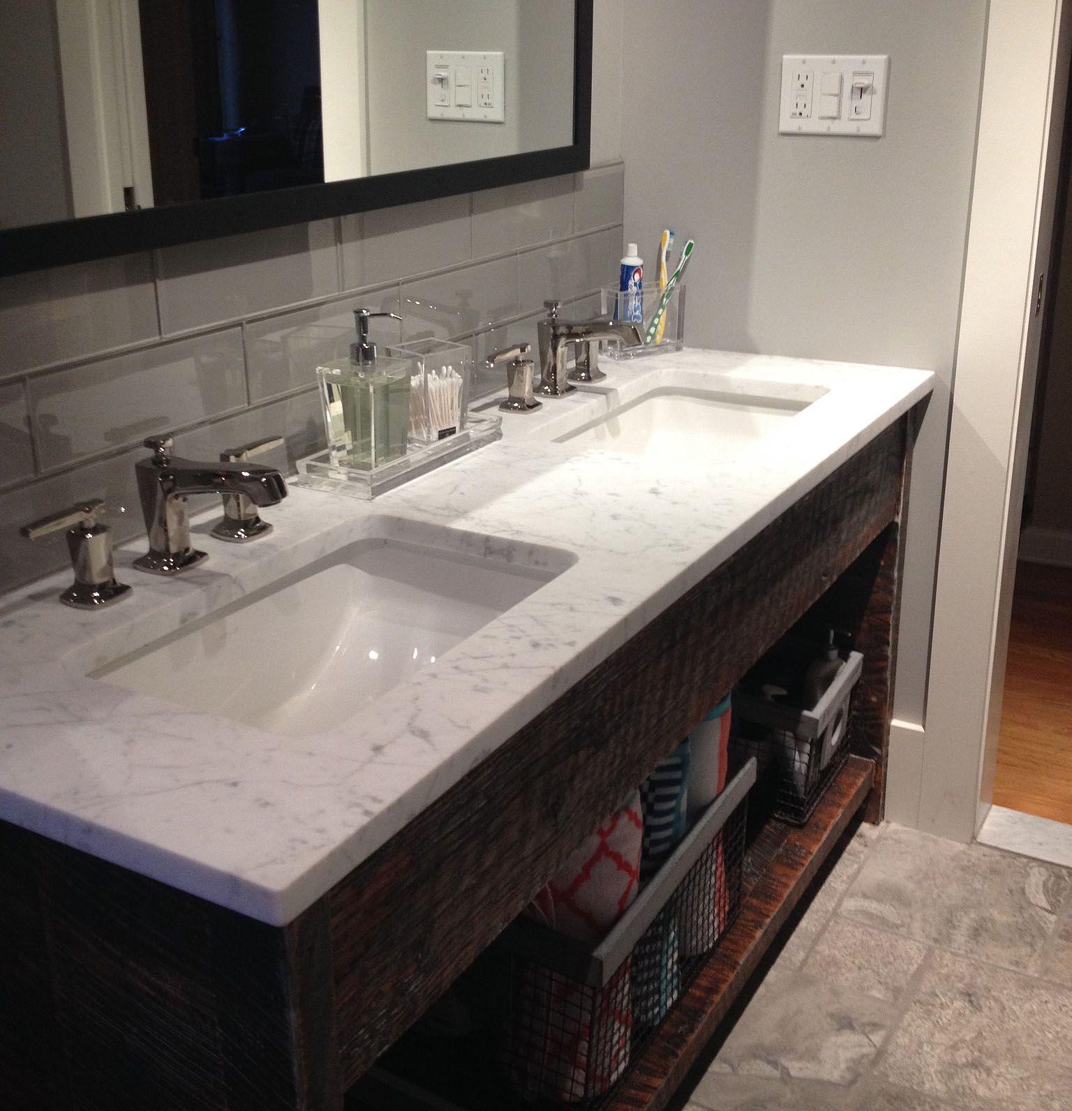 Large smoke 4x12 bathroom sink backsplash Bathroom Pinterest