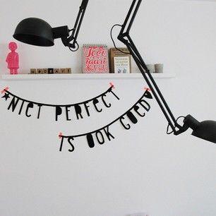 #Wordbanner #tip: Niet #perfect is ook goed - Buy it at www.vanmariel.nl - € 11,95, 2 for € 20