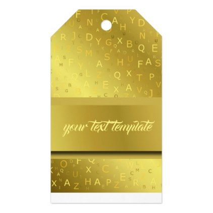 golden shiny pattern letters chic stripes fractal gift tags