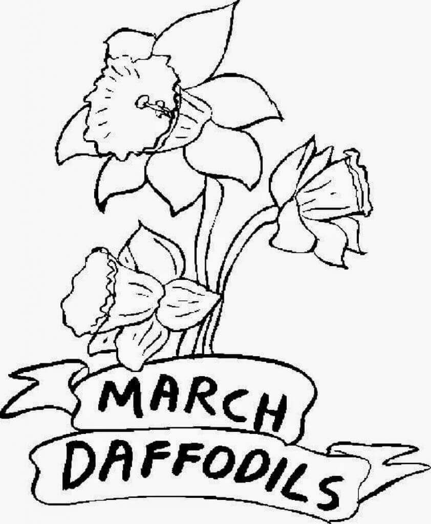 Free Printable March Flower Coloring Pages Easter