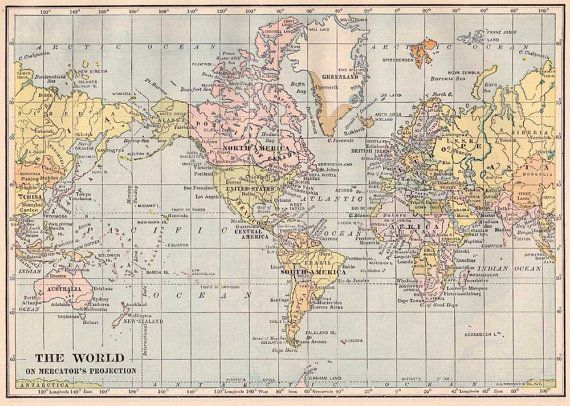 World map printable digital download high resolution originally world map printable digital download high resolution originally issued in 1930s printable blue and pink pastel color vintage style gumiabroncs Choice Image