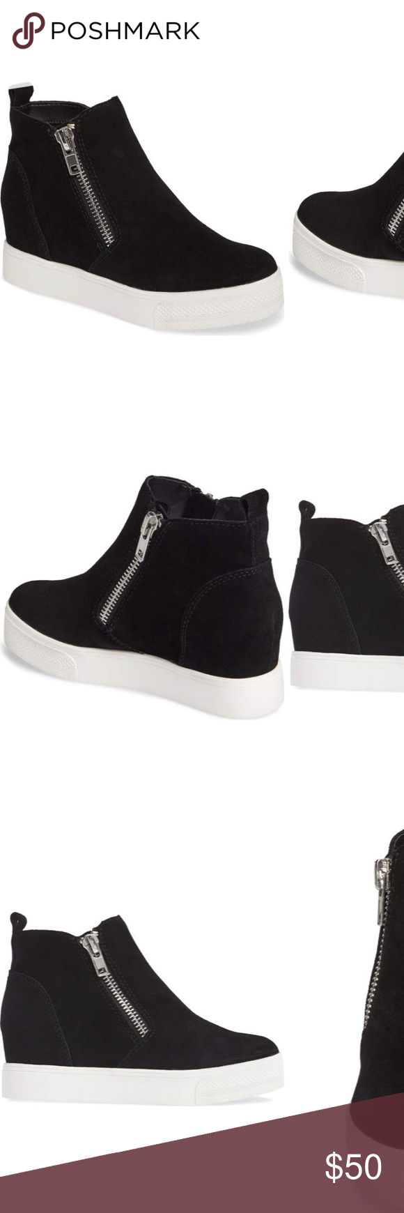 af72da84f85 Steve Madden Wedgie High Top Platform Sneaker Dual angled zips add gleaming  texture to a minimalist