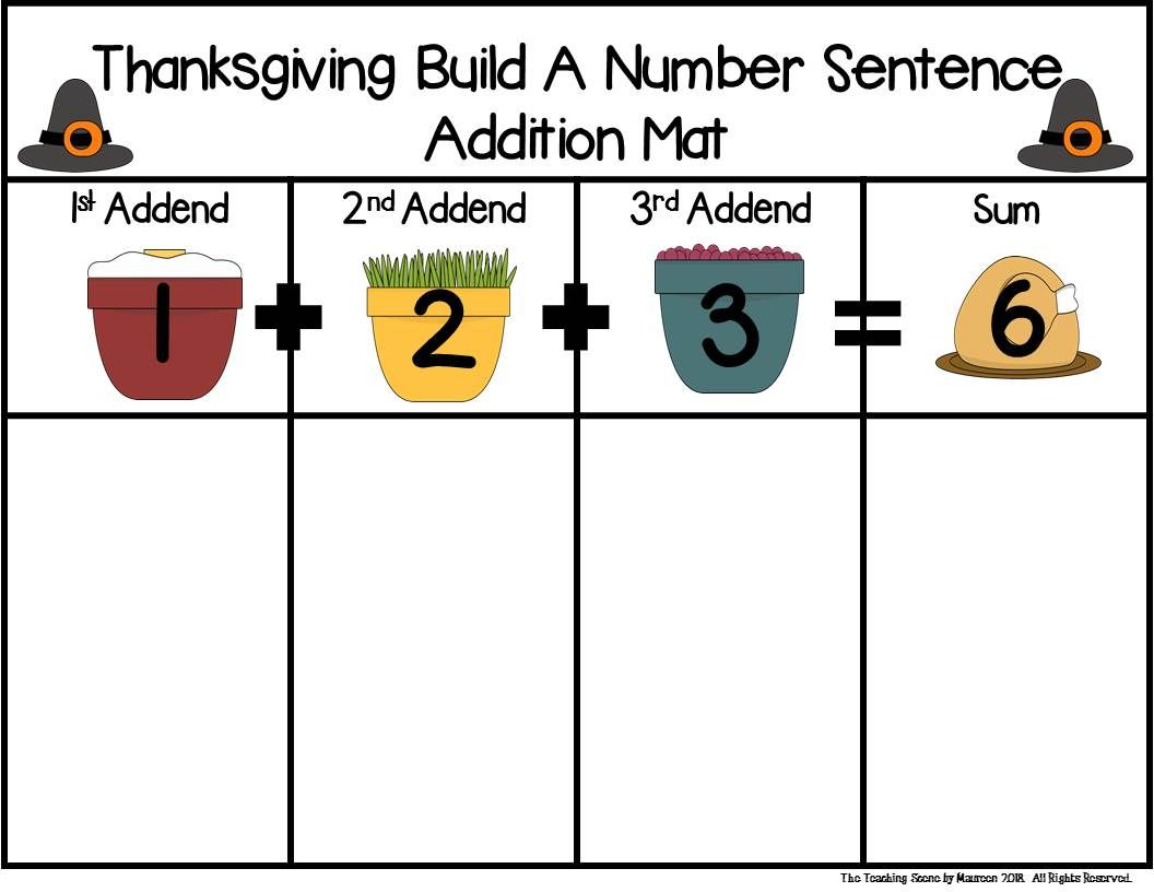 Thanksgiving Build 3 Addend Addition Amp Subtraction Number
