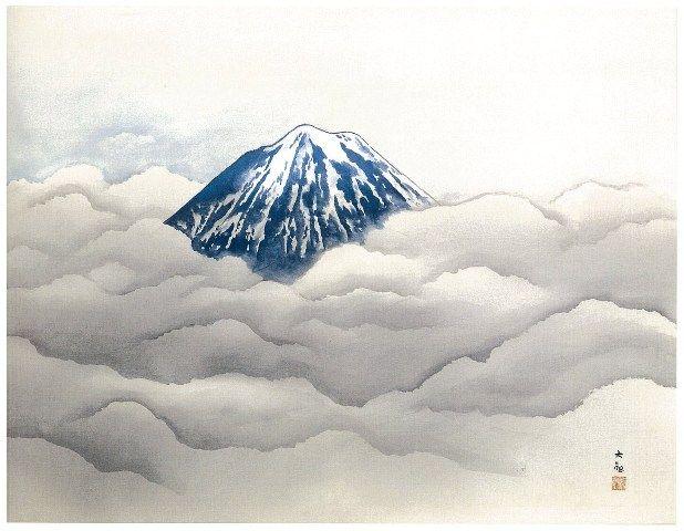霊峰夏不二 (Sacred Fuji Mountain in Summer)  by Yokoyama Taikan, 1955. -- Adachi Museum of Art (Shimane Yasugi) Collection