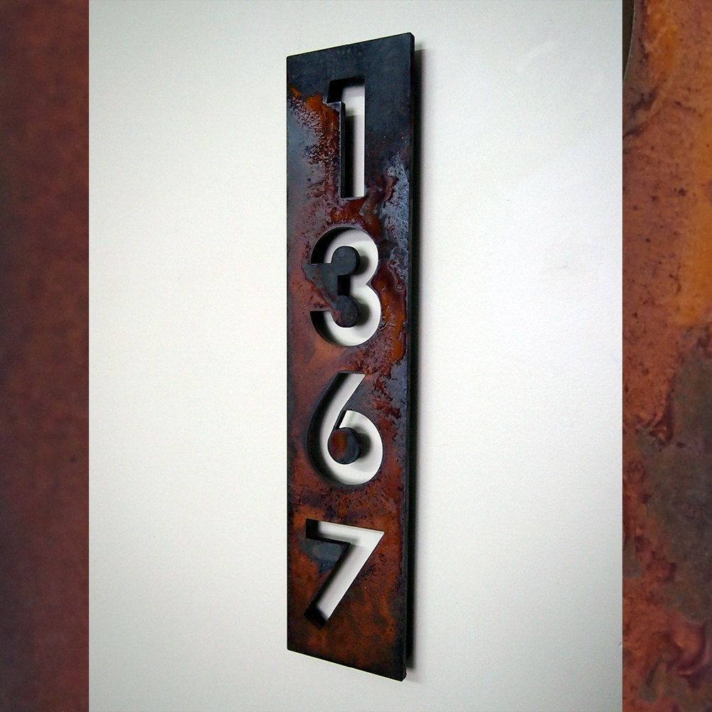 Custom Modern Floating House Numbers Vertical In Rusted Steel Metal House Numbers House Numbers Modern House Numbers Sign