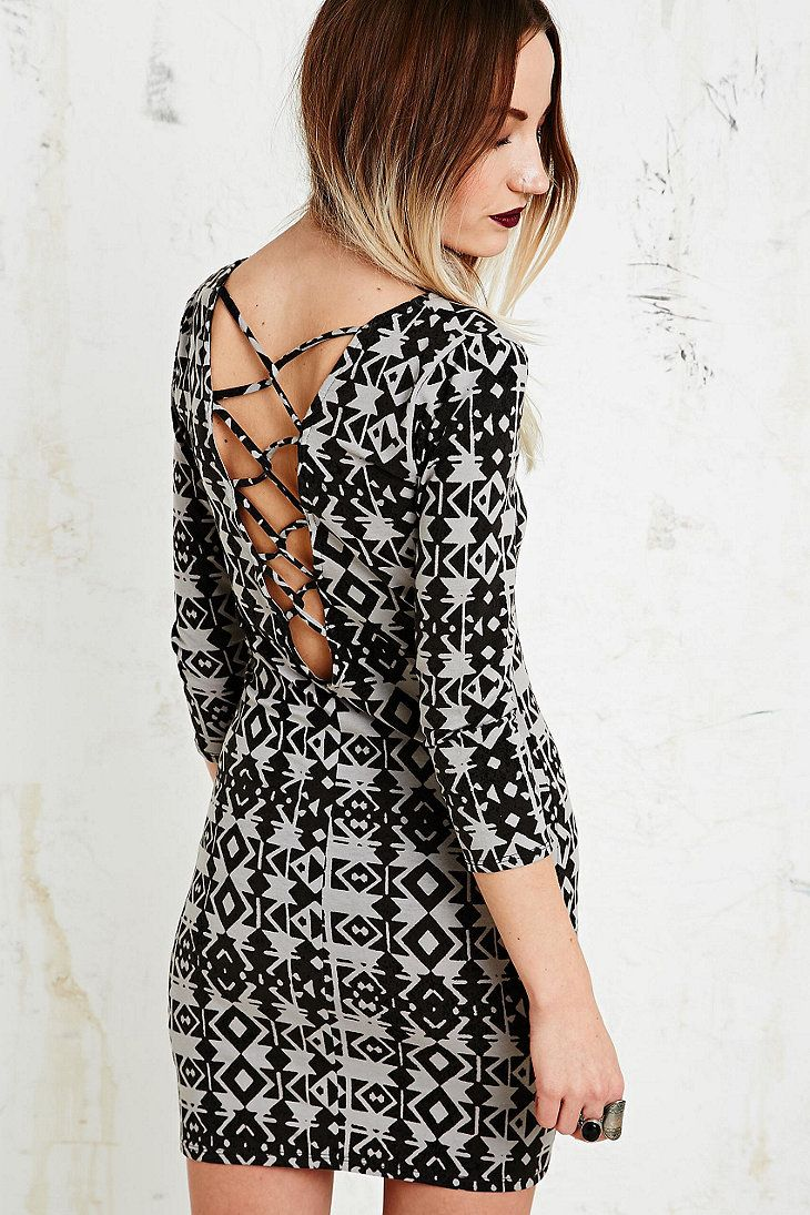 6cac95ab Ecote Ivy Ladder Bodycon Dress in Beige - Urban Outfitters | Fashion ...