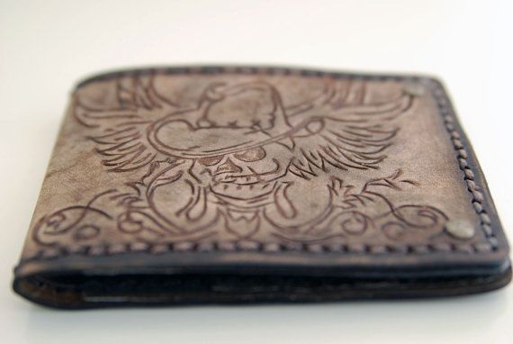 The T-Bone Jones - Mens Leather Wallet Rustic Etsy handmade Bifold on Etsy, $149.00