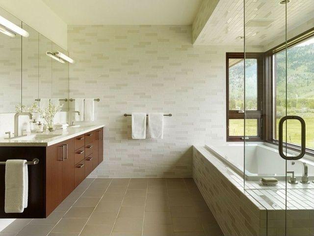 meuble salle de bains bois carrelage et d co en 105 id es salle de bains en bois fonc. Black Bedroom Furniture Sets. Home Design Ideas