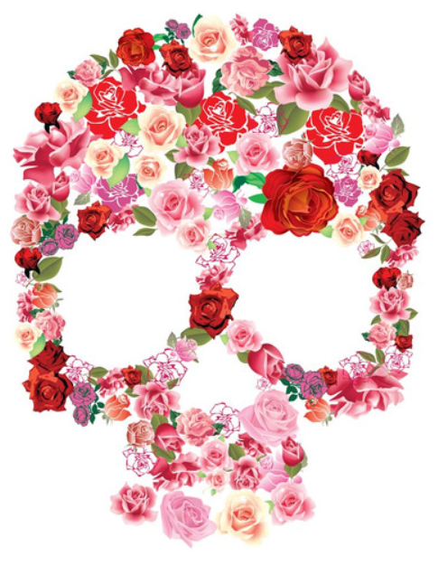 floral skull tattoo idea... shoulder piece - start of sleeve. Rather have this in black and white