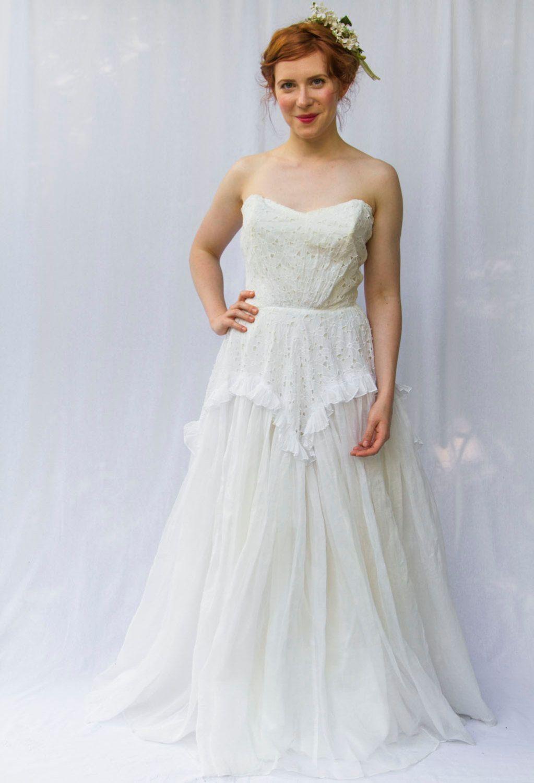 Eyelet wedding dress  Elegant s Strapless Cotton Eyelet Wedding Dress  Gown with
