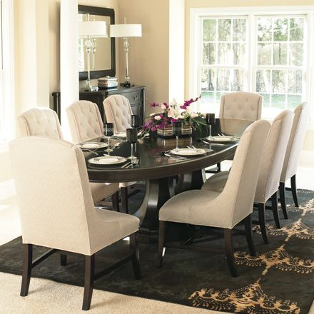 Dining Room Table With Upholstered Chairs Stylepep Com In 2020 Oval Dining Room Table Elegant Dining Room