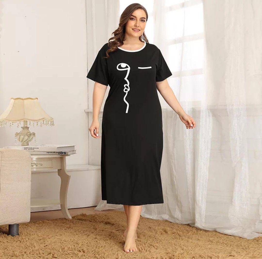 ثوب نوم خامة ناعمه ومريحة يتوفر بالمقاس الكبير والعادي المقاسات الكبيرة من Xl إلى 4xl المقاسات العاديه Nightgowns For Women Night Dress Night Gown
