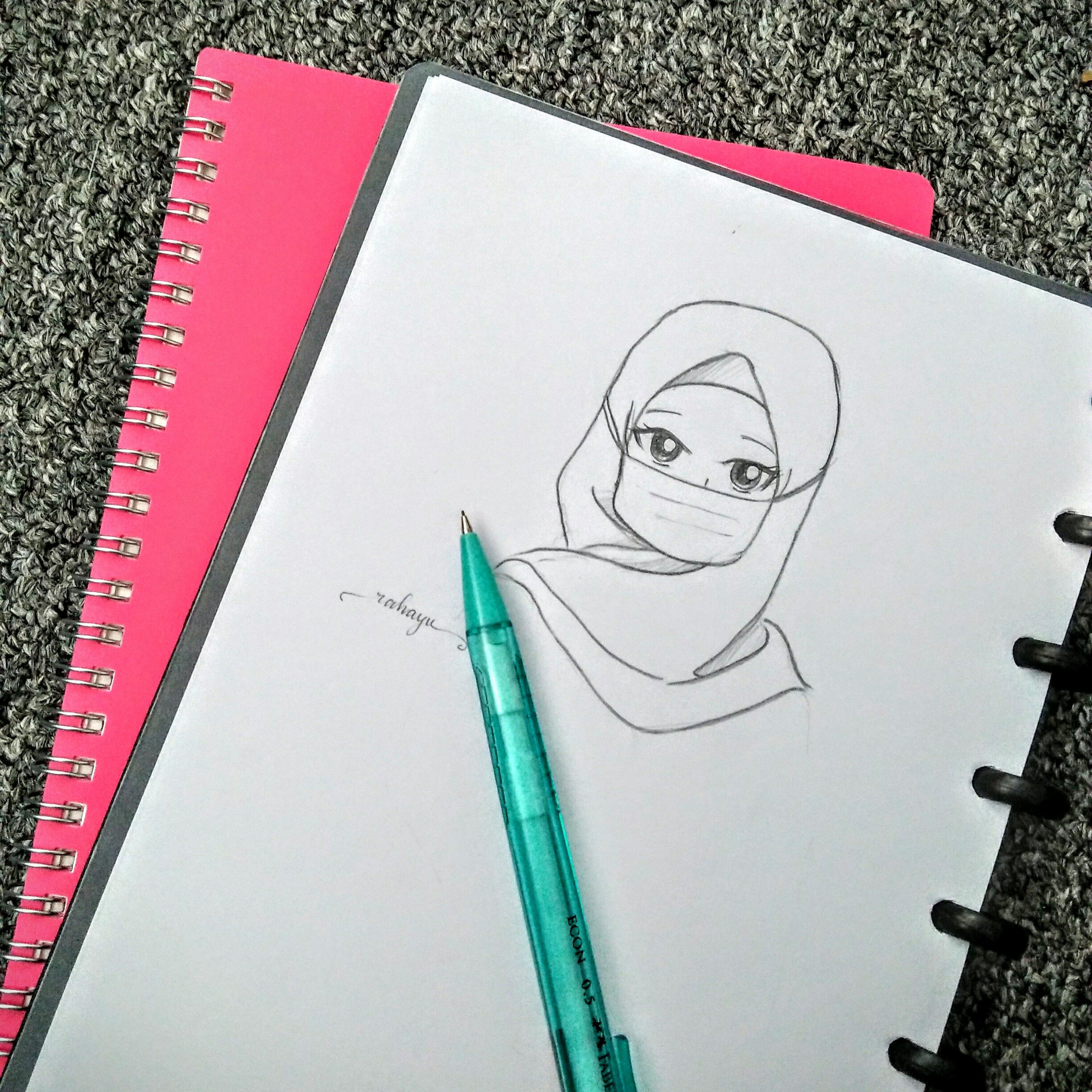 Manga muslimah hijab handdrawing cartoon pencil sketch