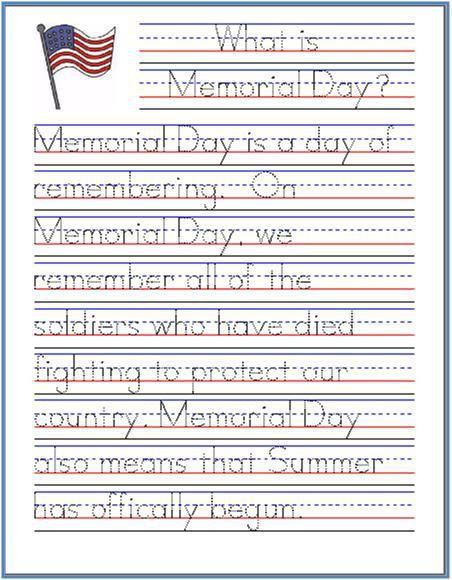 Memorial-Day-Handwriting-Practice-Sheet | Homeschool/Mommyschool