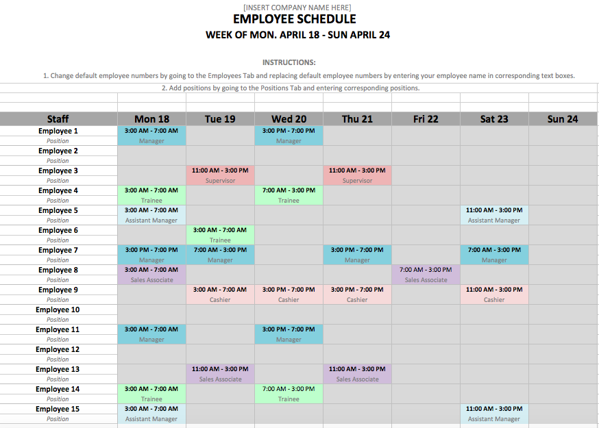 how to make an employee schedule in excel