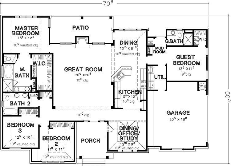 Story House Plans Malaga Single Story Home Plan 028d 0075 Four Bedroom House Plans House Plans Single Storey House Plans