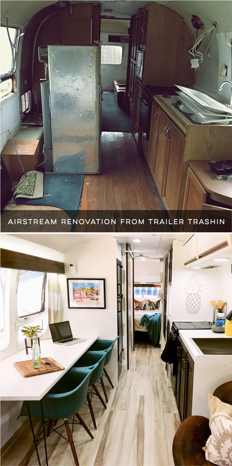 Tour This Renovated Airstream From Trailer Trashin Caravan Renovation Renovations Airstream Renovation Living on one dollar trailer