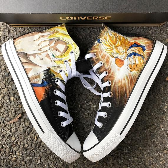 577d5a09821a0 Custom Painted Anime Converse, Personalized Handpainted DBZ Anime ...