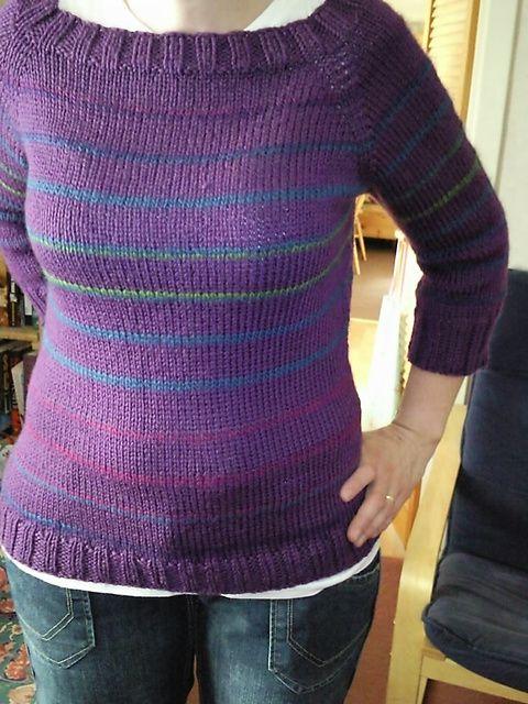 Candy-Striped Raglan Sweater pattern by Jenn Pellerin