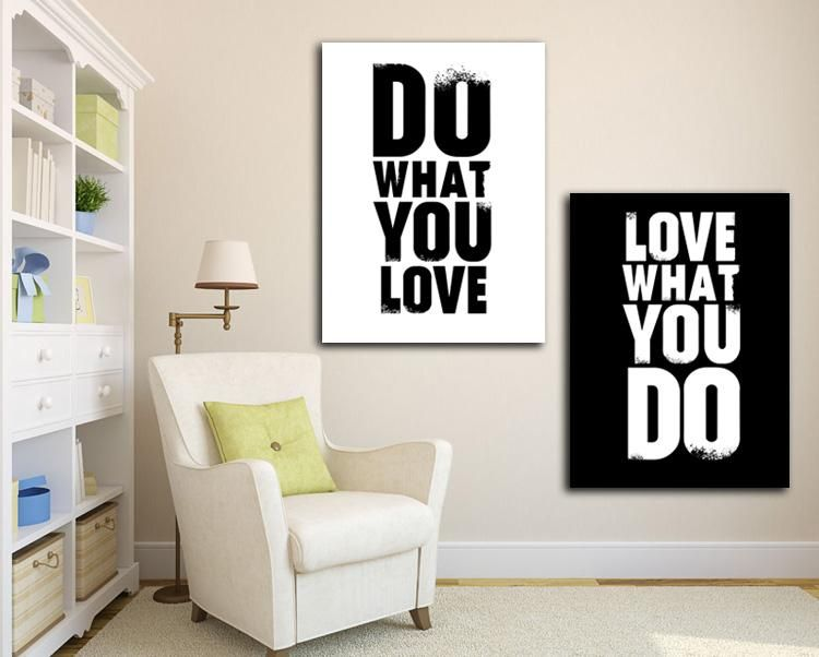 prints for office walls. 2 Pieces Painting Do What You Love Inspiration Quote English Canvas Print Picture Fashion For Home Prints Office Walls