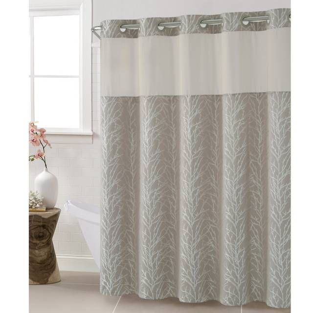 Hookless Jacquard Tree Branch Shower Curtain In Taupe Cool