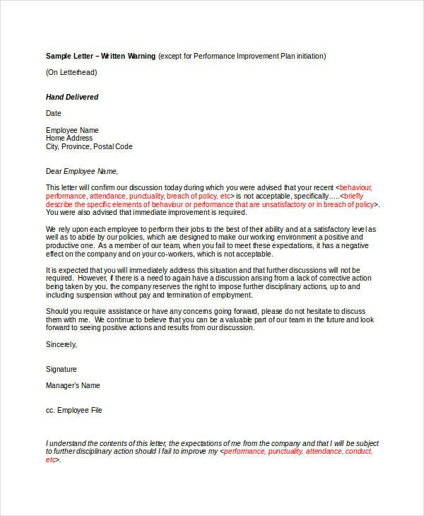 9 Employee Warning Letter Template Pdf Doc Free