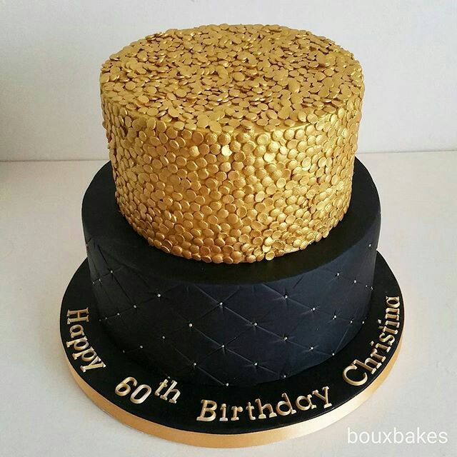 Two Tiered Black And Gold Sequin 60th Birthday Cake Black And