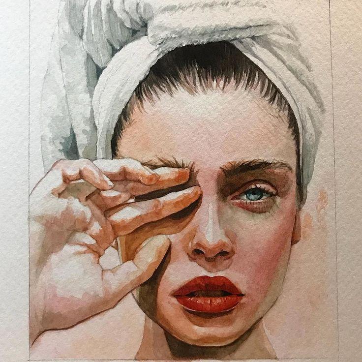 Zeichnungs-Farbenmalerei des vorsichtigen Bezugsfrauengesichtes des Aquarells hübsche