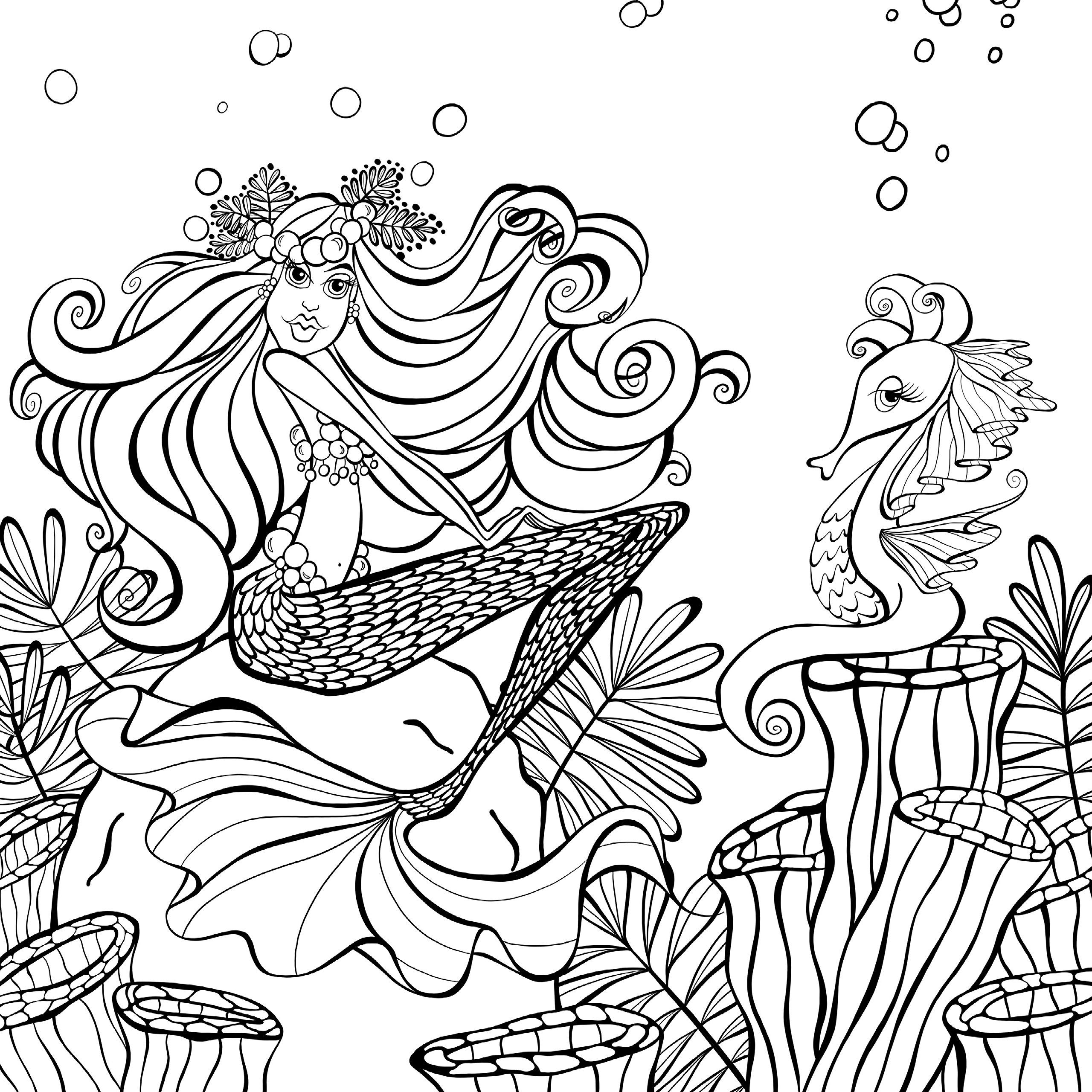 Amazon Com Zendoodle Coloring Presents Mermaids In Paradise An