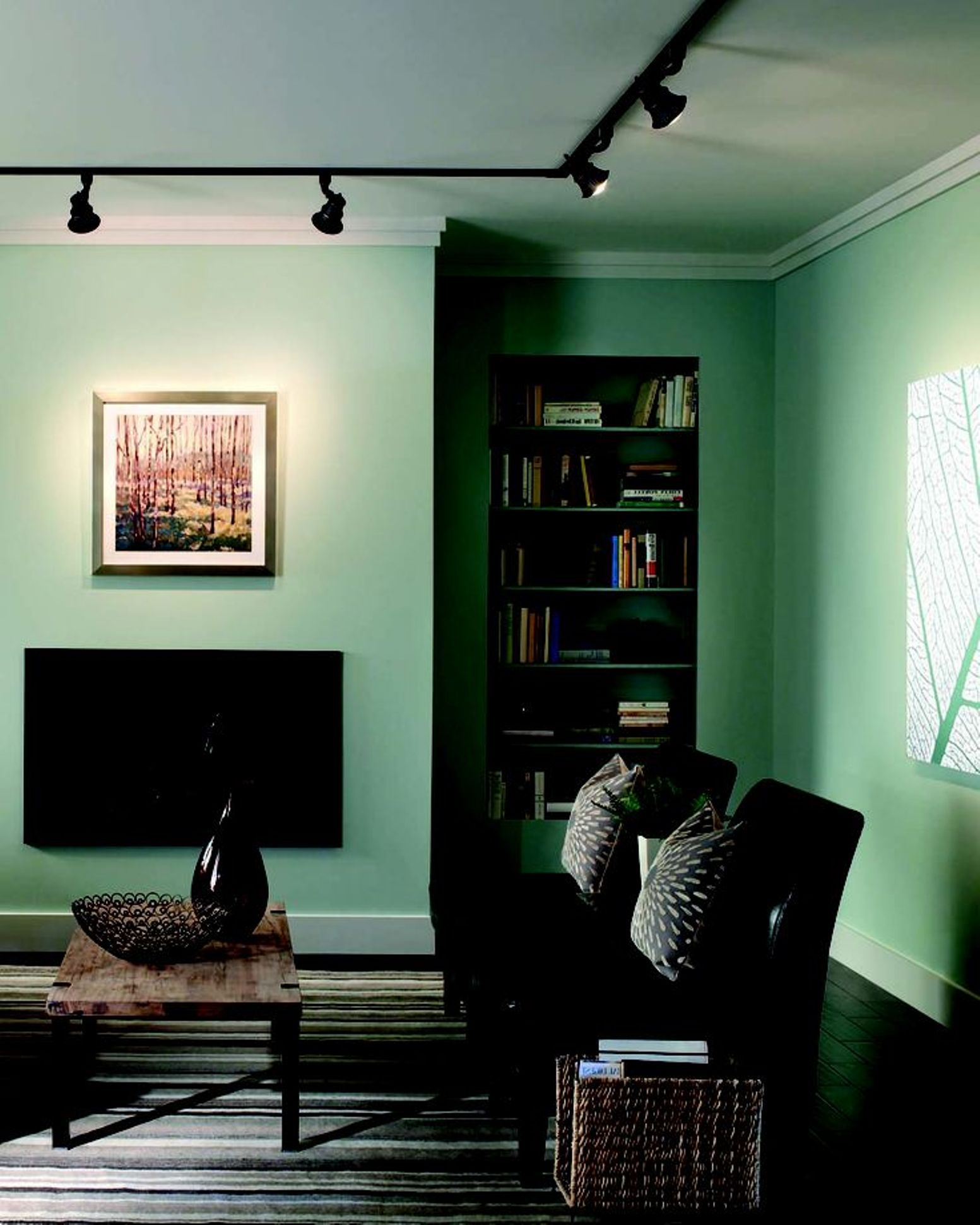 Black track lights | Living room lighting, Accent lighting ...