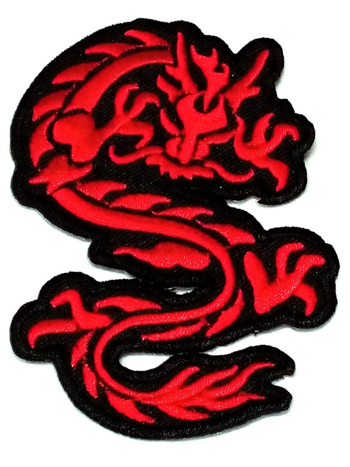New Red Dragon On White Background Round LARGE Embroidered Patch