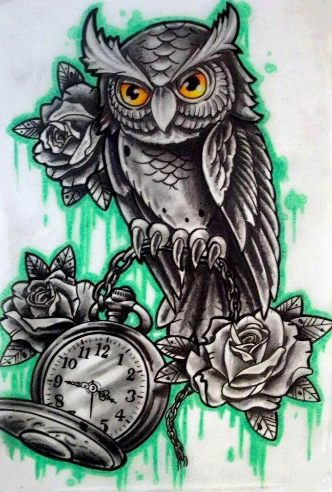 Owl Clock Drawing Owl With Clock N Rose Tattoo Tato Burung Hantu