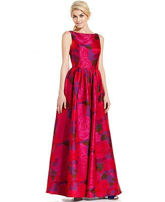 Adrianna Papell Sleeveless Floral Print Ball Gown Reviews Dresses Women Macy S Gowns Ball Gowns Womens Dresses