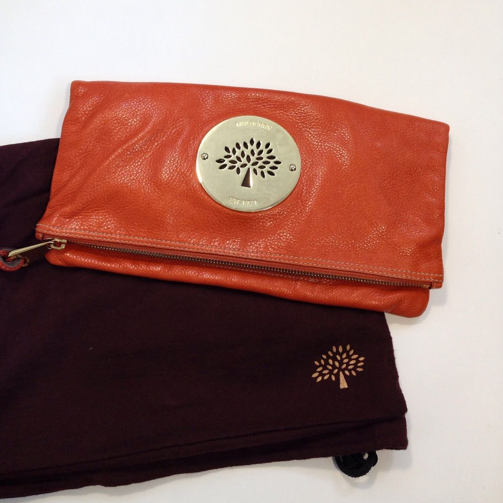 Authentic Mulberry Orange Leather Clutch