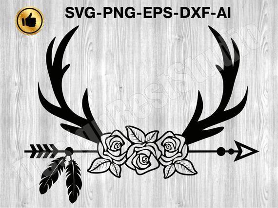 Deer Antlers SVG 4 Floral Deer Antlers SVG Deer Antlers | Etsy