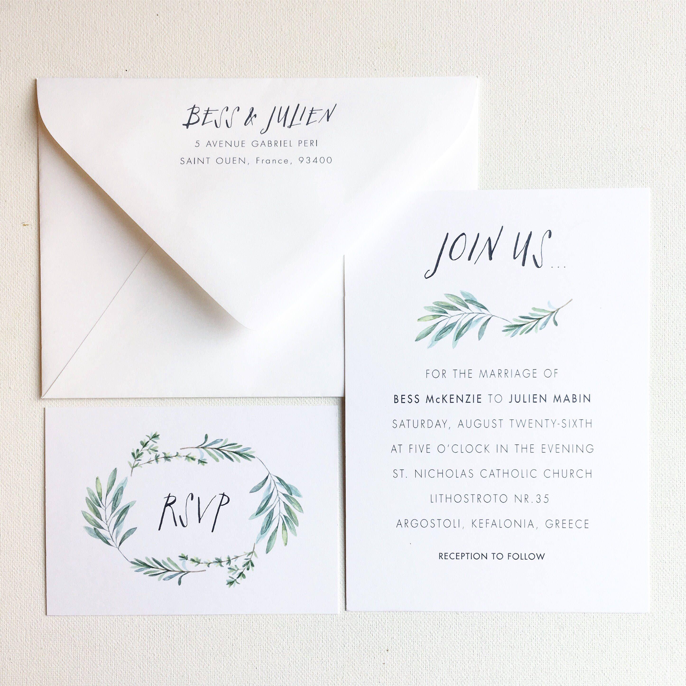 Greenery Wedding Invitation, Outdoor Wedding, Greek Wedding ...
